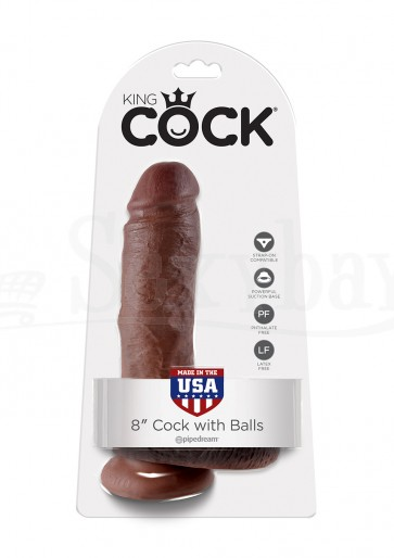 COCK 8 INCH W/ BALLS BROWN
