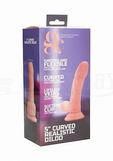 5 Inch Curved Realistic Dildo - Flesh