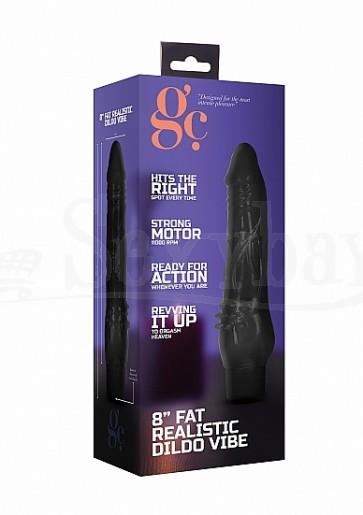 Vibratore Realistico - 8 Inch Fat Realistic Dildo Vibe - Black