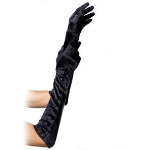 SATIN GLOVES WITH SNAP BUTTONS OS