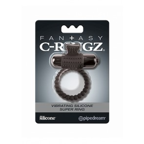 Vibrating Silicone Super Ring - Black